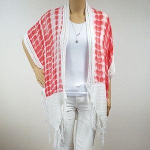 Coral tie dye white crochet lace knitted kimono D7